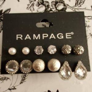 NEW Silver Rhinestone Stud Earrings Set